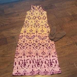 Racerback maxi dress with pockets and built in bra